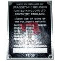 Plaque d'identification FE35 (13 numéros)