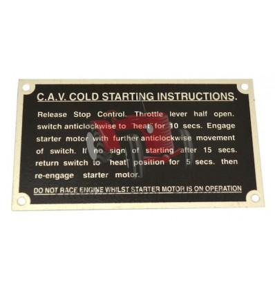 """Plaque """"CAV Cold Starting"""" pour FE35"""